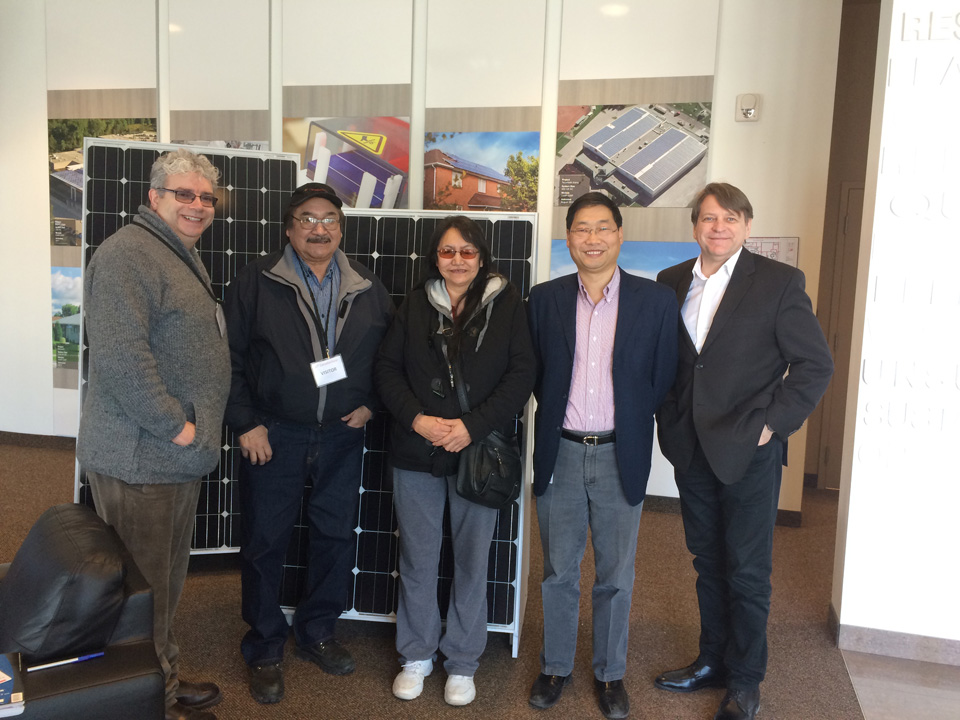 Touring Canadian Solar (CS) in Guelph: L to R Brian Walmark, Chiefs Joseph Crowe (Fort Severn) and Alice Suggashie (Poplar Hill), Brian Lu (CS), and Ron Drews. Solar Panels from this plant have been installed in Deer Lake and Fort Severn.